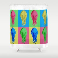 lsd Shower Curtains featuring Doctor Who: Ood on LSD by InvaderDig
