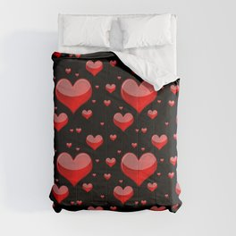 Hearts Red and Black Comforters