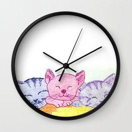 Rainbow kittens Wall Clock