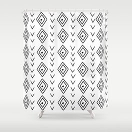 mudcloth 9 minimal textured black and white pattern home decor minimalist beach Shower Curtain