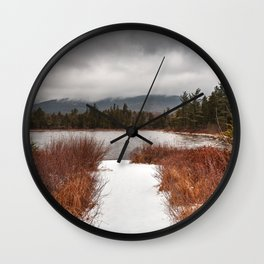Winter Lily Pond Wall Clock