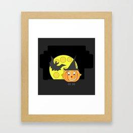 Funny half smile pumpkin head with bat and moon Framed Art Print