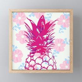 Beautiful Pineapple Flowers Pattern Framed Mini Art Print
