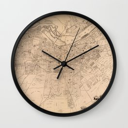 Map Of Louisville 1873 Wall Clock