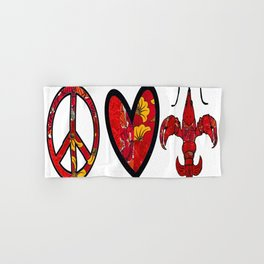 Red & Yellow Peace Love and Crawfish Design Hand & Bath Towel