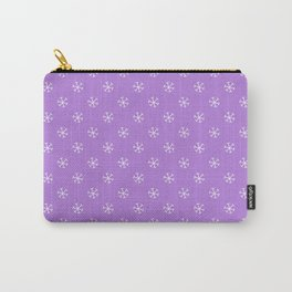 White on Lavender Violet Snowflakes Carry-All Pouch