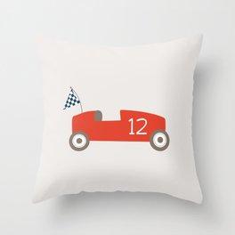 Soapbox Derby Red Car Throw Pillow