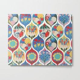 Floral Deco Ogee Metal Print