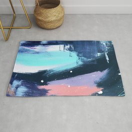 Playful [3]: a bold abstract piece in vibrant blues, pink, purple and white Rug