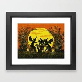 "Halloween witches floor mat ""Reading the tea leaves..."" Framed Art Print"