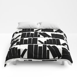 Library Book Shelves, black and white Comforters