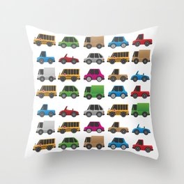 Cute Toy Cars, Trucks and School Buses Pattern Throw Pillow
