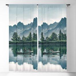 Lake, Water, Water Reflection, Boat, Canoe, Nature. Vintage. Retro. Illustration.  Blackout Curtain