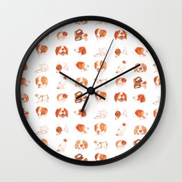 Faces and Poses of a Brittany Spaniel Wall Clock