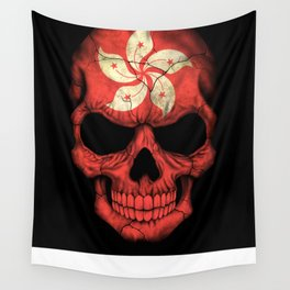 Dark Skull with Flag of Hong Kong Wall Tapestry
