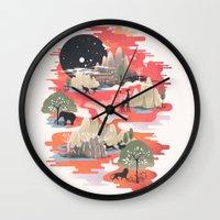 landscape Wall Clocks featuring Landscape of Dreams by dan elijah g. fajardo