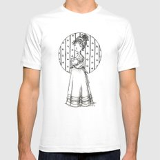 Lady and Cat MEDIUM Mens Fitted Tee White