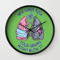 lungs Wall Clocks featuring New Lungs by Artistic Dyslexia
