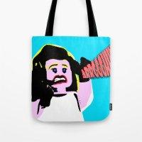 lichtenstein Tote Bags featuring Lego Lichtenstein - Scream by Timkirman