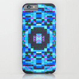 Blue-mosaic-pattern iPhone Case