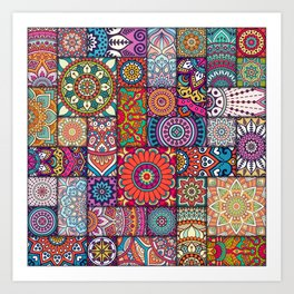 Boho Patchwork Quilt Pattern 2 Art Print