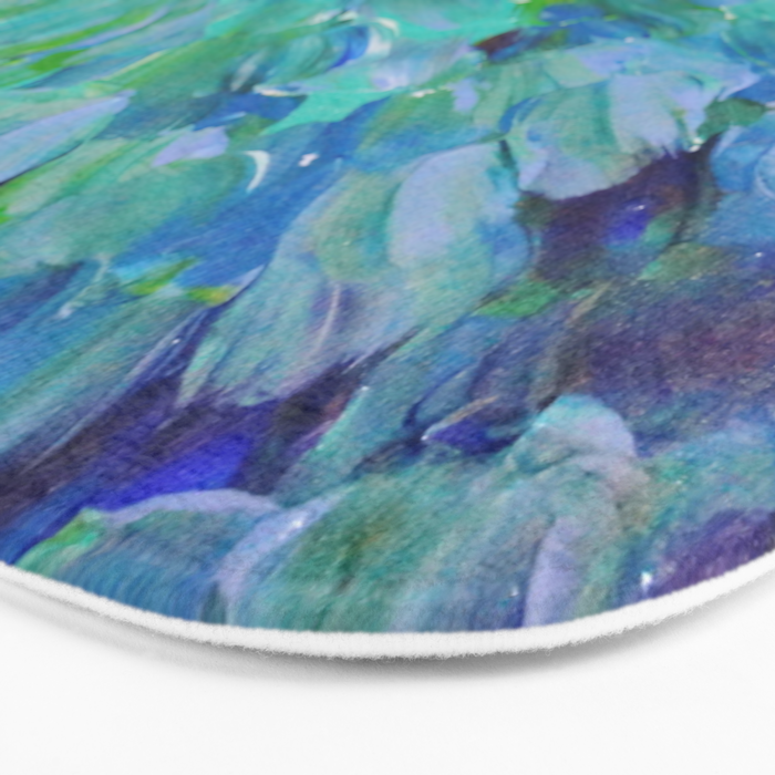 SEA SCALES - Beautiful Ocean Theme Peacock Feathers Mermaid Fins Waves Blue Teal Color Abstract Bath Mat