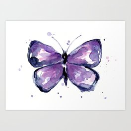 Purple Butterfly Watercolor Abstract Animal Art Art Print