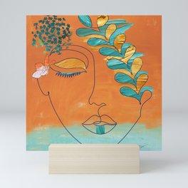 Monoline Woman Gilded Flowers Mini Art Print