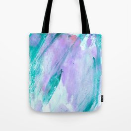 Modern lavender turquoise watercolor hand painted brushstrokes Tote Bag
