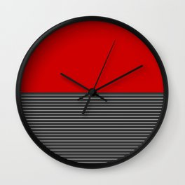 Half thin striped red Wall Clock