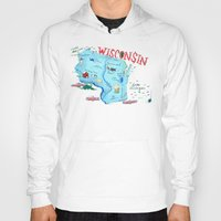 wisconsin Hoodies featuring WISCONSIN by Christiane Engel