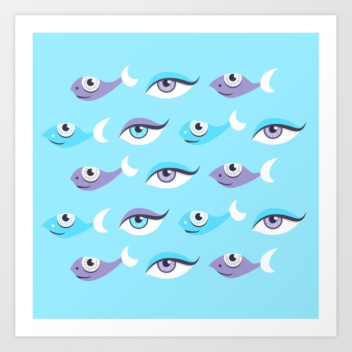 Pattern Of Eyes And Fish In Sea Art Print