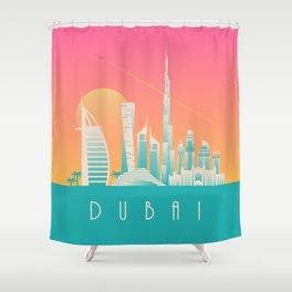Dubai City Skyline Retro Art Deco Tourism - Morning Shower Curtain