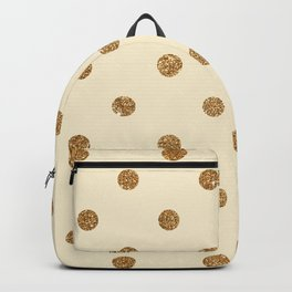 Blanched Almond Gold Glitter Dot Pattern Backpack