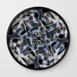 Blue Gray Dark Flower Garden Design Wall Clock