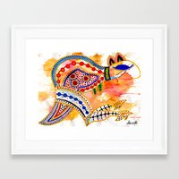 kangaroo Framed Art Prints featuring Kangaroo by Armyhu