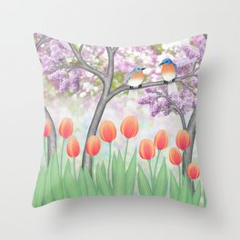 eastern bluebirds, tulips, & lilacs Throw Pillow