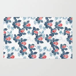 Orchid garden in navy blue on white Rug