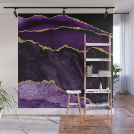 Purple & Lilac Silk Folds With Gold Veins Marble Wall Mural
