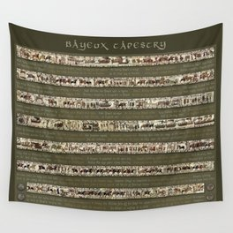 Bayeux Tapestry on Army Green - Full scenes & description Wall Tapestry
