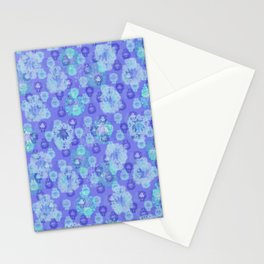 Lotus flower - pool blue woodblock print style pattern Stationery Cards