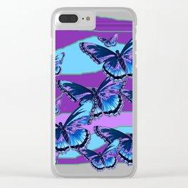 MODERN INDIGO BLUE BUTTERFLIES & PURPLE  HORIZON LANDSCAPE Clear iPhone Case