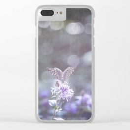 Sun rays and bokeh effect over the butterfly Clear iPhone Case