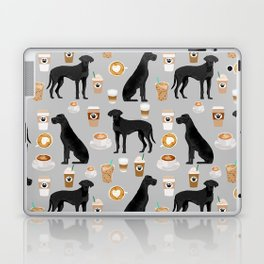 Great Dane coffee black coat color custom pet portrait dog art by pet friendly Laptop & iPad Skin