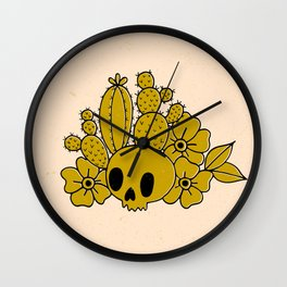 Skull and Cactus Wall Clock