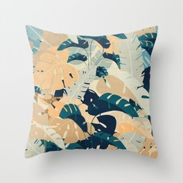 Monstera jungle leaves in cobalt and carmine Throw Pillow