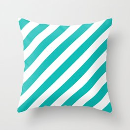 Diagonal Stripes (Eggshell Blue/White) Throw Pillow