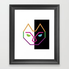 Abstract Multicolored Cat Framed Art Print