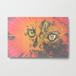 Cat Face Print Illustration, Cat Eyes Art Work, wild nature Metal Print