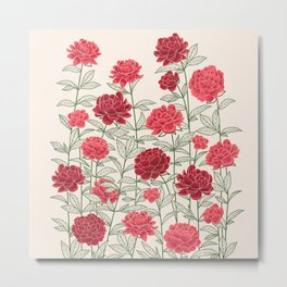 Red Floral Peonies Pattern Metal Print